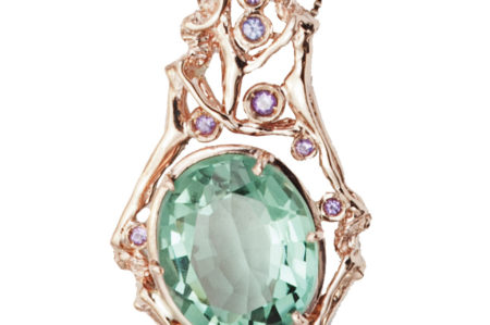 Women pendant with fluorite and amethysts