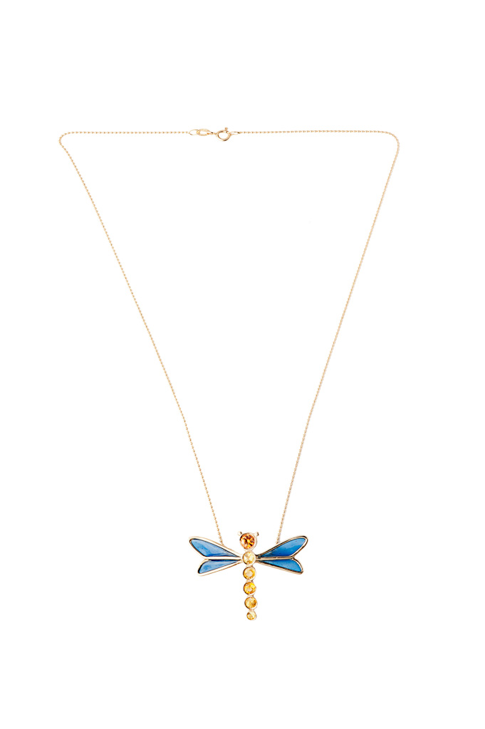 Dragonfly pendant with yellow and orange sapphires