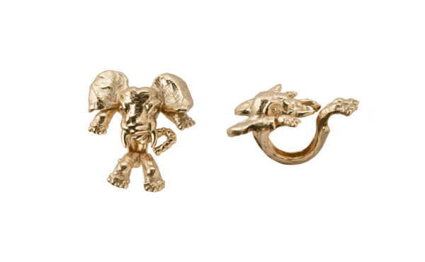 Bronze elephant 2 fingers open ring