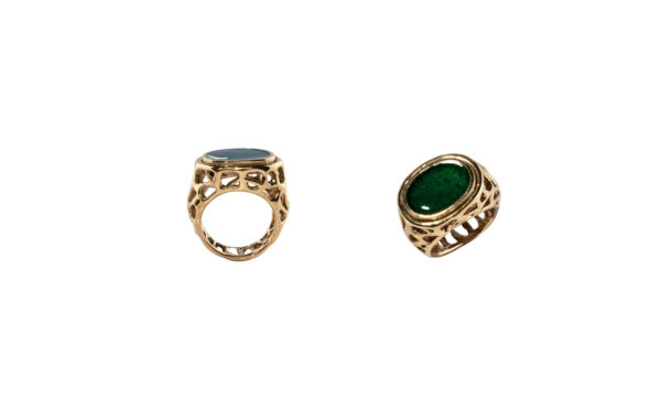 Spider web bronze ring with green enamel
