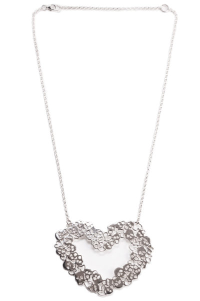 silver heart necklace with skulls