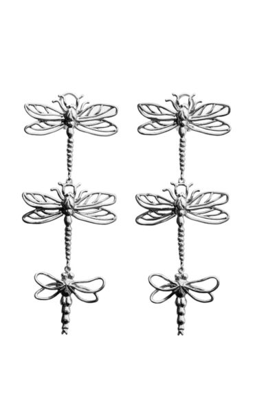 3 big dragonflies silver earrings
