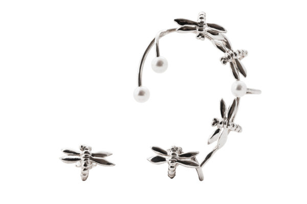 Dragonfly silver earcuff with pearls