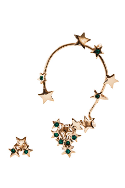 Multi stars bronze earcuff with green Swarovsky crystals