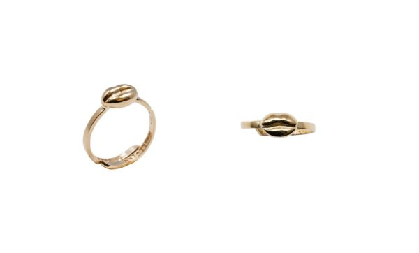 Mini lips yellow gold band ring