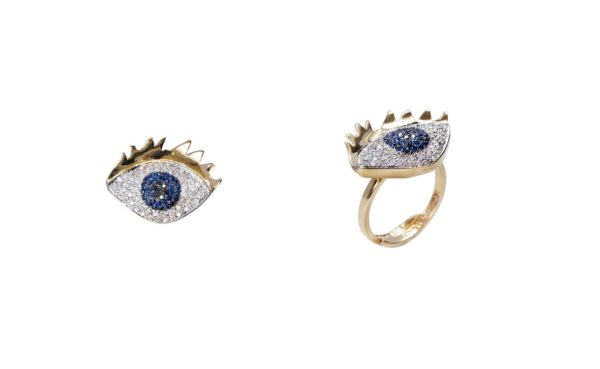 Big eye ring with pavé diamonds and sapphires