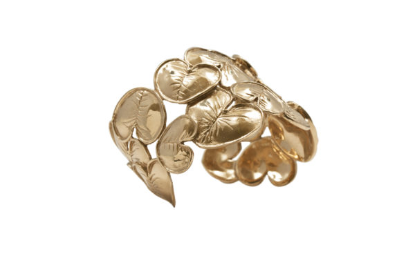 Waterlilies leaves bronze cuff bracelets