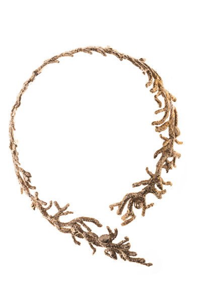 bronze coral shaped stiff necklaces