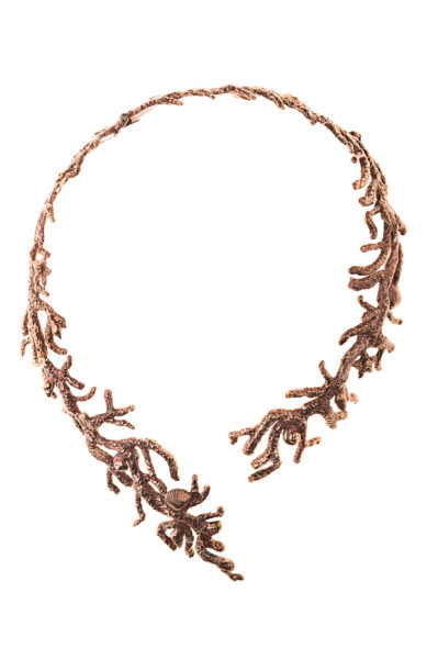 Pink bronze coral shaped stiff necklaces