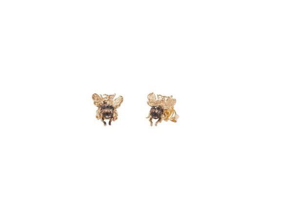 Mini bee gold earring with diamonds