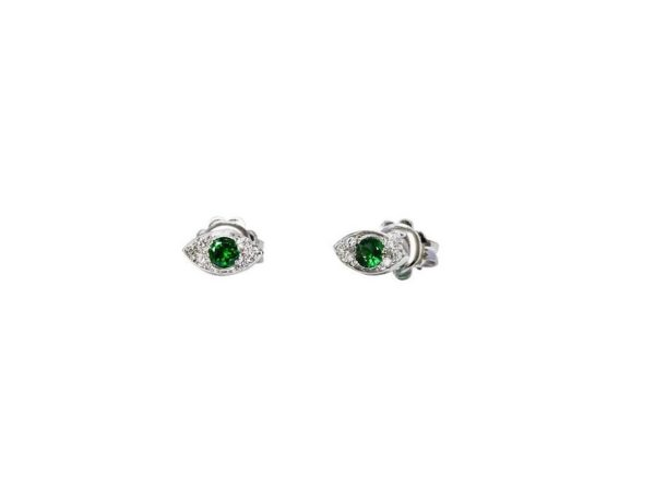 Gold mini eyes earrings with diamonds and tsavorites