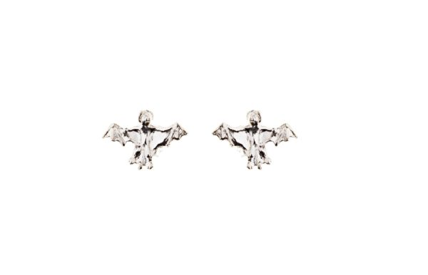 silver mini bats earrings