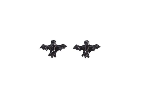 Black bronze mini bats earrings