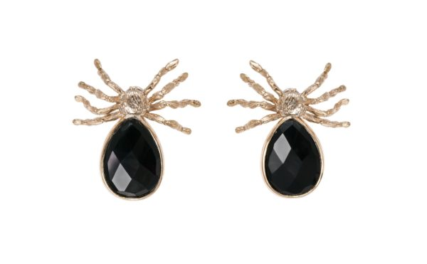 Giant spider earrings with onyx