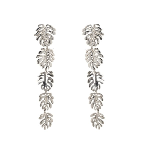 Silver 5 elephant ears leaves earrings