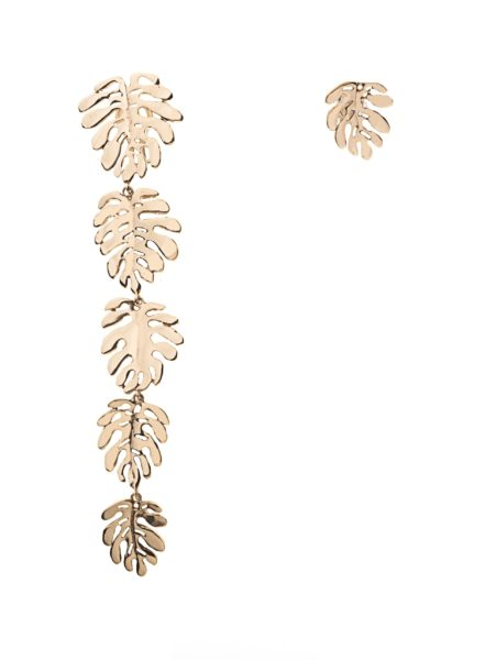 Bronze 5 + 1 elephant ears leaves earrings