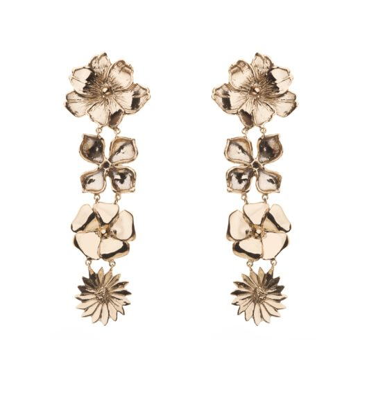 4 flowers bronze earrings
