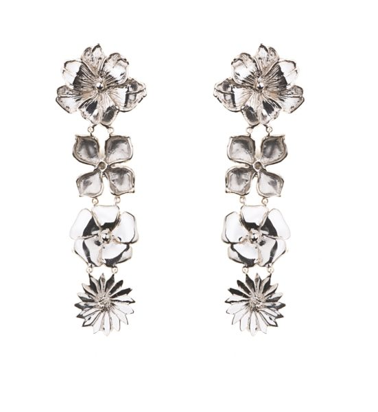 4 flowers silver earrings
