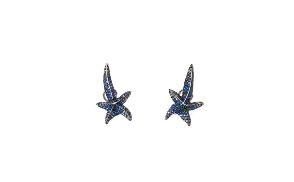 Sea stars earrings with pavé diamonds and sapphires