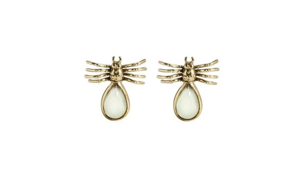 Spider bronze earrings with drop prasorite