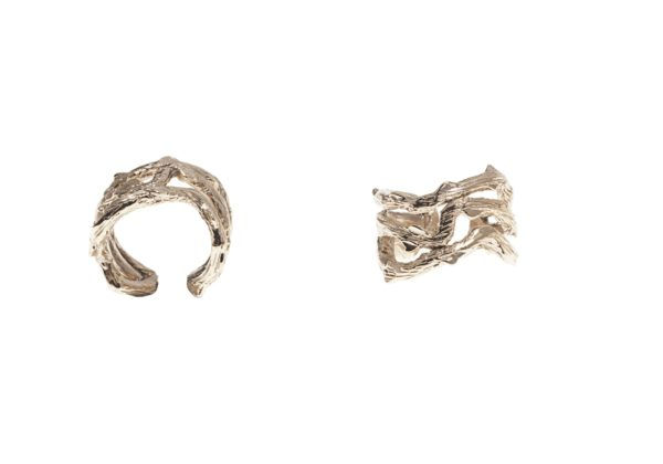 Thorny branch flat bronze ring
