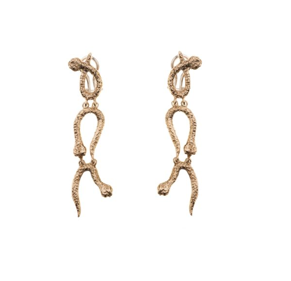 3 curved snakes bronze earring