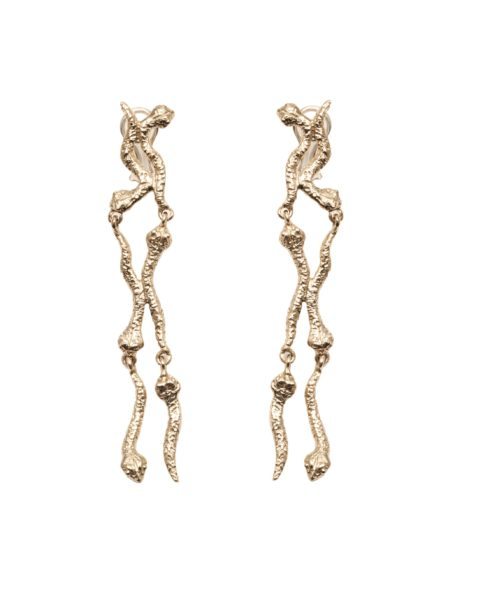 6 short snakes bronze earrings