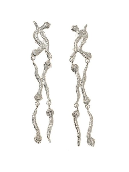 6 short snakes silver earrings