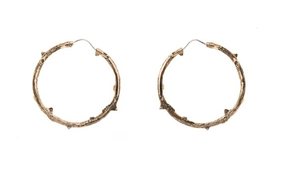 Bronze thorny branch hoop earrings