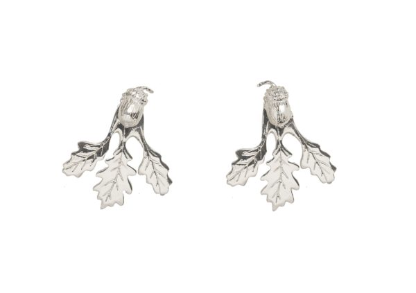 Silver oak leaves piercing earrings