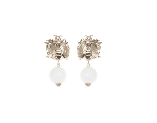 Bee bronze earrings with white agate