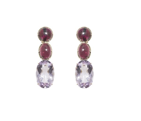 Gold earrings with oval and round rubellites and oval amethyst