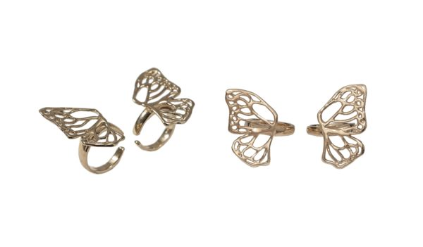 Set of 2 bronze rings butterfly wing