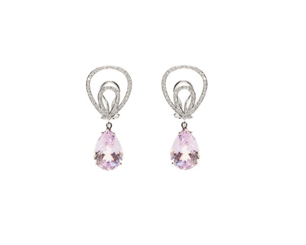 Gold earrings with pavé diamonds and drop kunzite