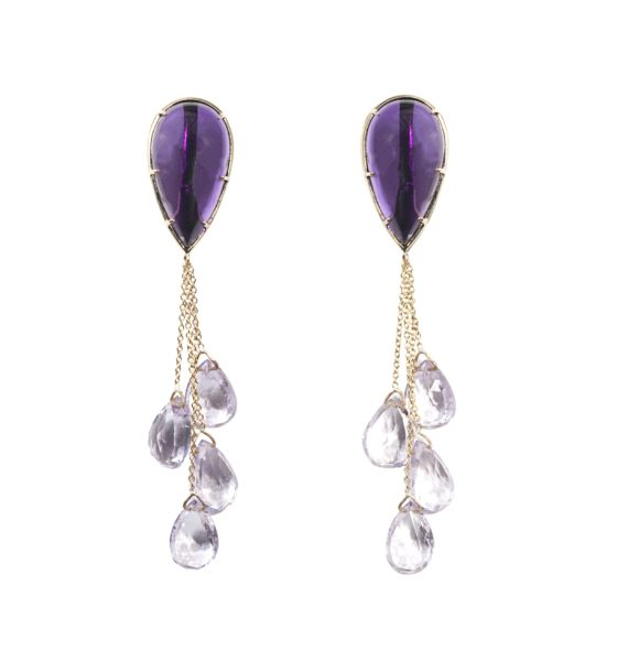 Gold earrings with drop amethyst and 4 drop amethysts