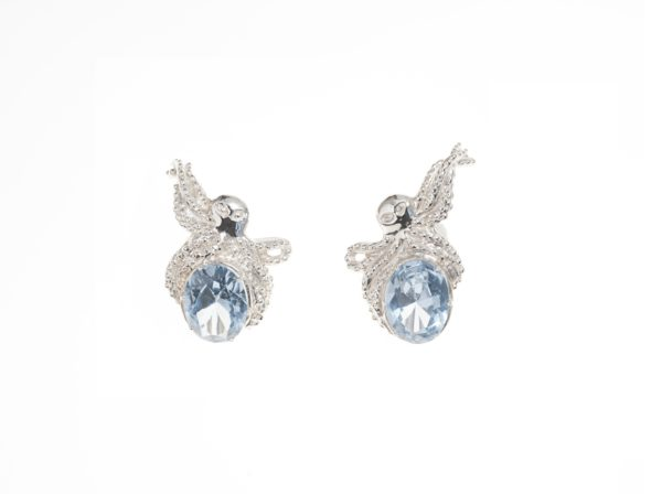 Silver octopus earrings with light blue zircon