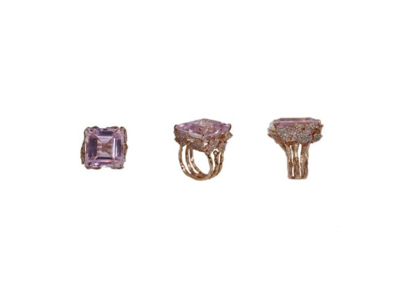 Leaves gold ring with kunzite and diamonds