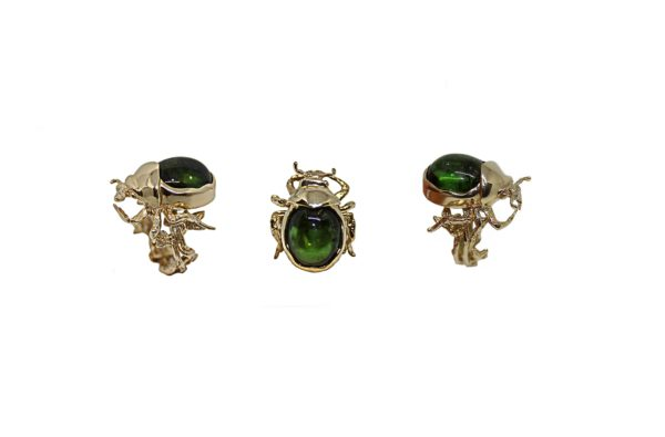 Gold scarab ring with green tourmaline cabochon