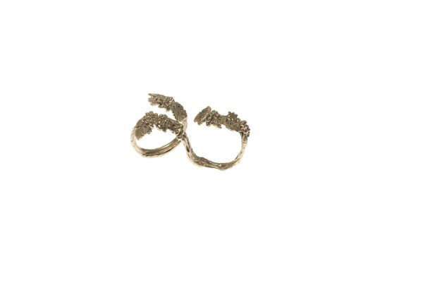 Grapes 2 finger bronze ring - small