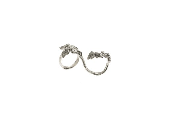 Grapes 2 finger silver ring -small