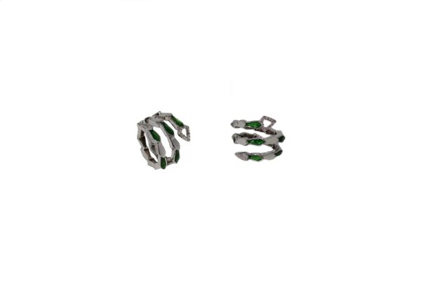 White gold spiral snake ring with head/tail pavé diamonds and green enamel