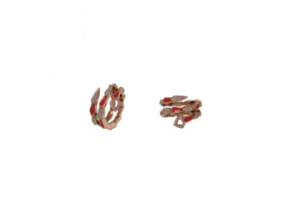 Pink gold spiral snake ring with pavé diamonds and salmon pink enamel