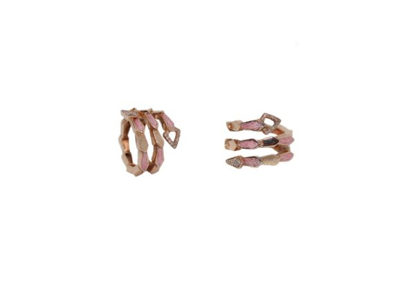 Pink gold spiral snake ring with head/tail pavé diamonds and pink enamel