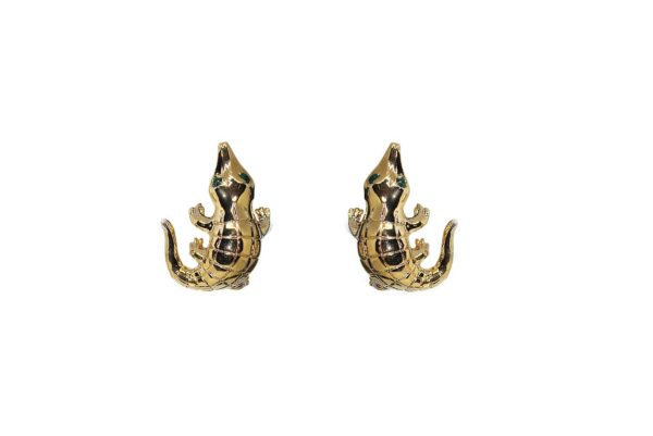 Smooth crocodile bronze earrings