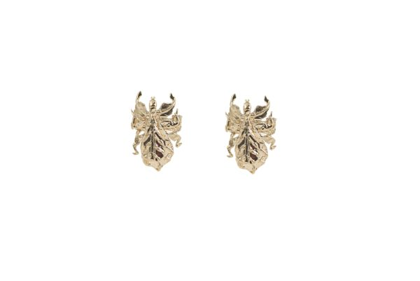 Leaf insect bronze earrings