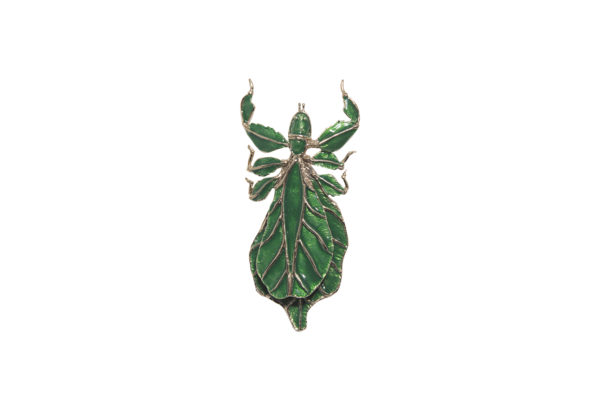 Bronze leaf insect brooch with enamel