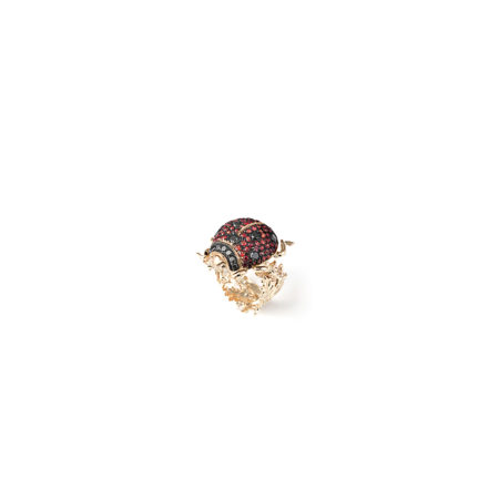 gold ladybird ring with diamonds and sapphires
