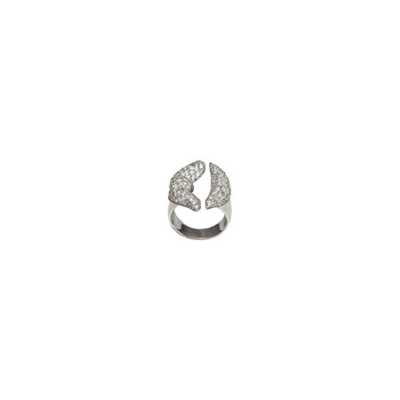 White gold mouth ring with diamonds