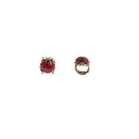 Bronze ladybird ring with enamel