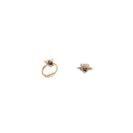 mini bee gold band ring with pavè black and cognac diamonds